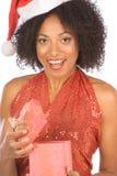 εθνική παρούσα έκπληκτη γυναίκα Χριστουγέννων στοκ εικόνες με δικαίωμα ελεύθερης χρήσης