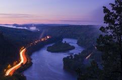 Εθνική περιοχή αναψυχής της Gap νερού του Ντελαγουέρ λυκόφατος Στοκ εικόνα με δικαίωμα ελεύθερης χρήσης
