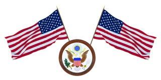 Εθνική σημαία και η τρισδιάστατη απεικόνιση καλύψεων των όπλων των Ηνωμένων Πολιτειών της Αμερικής o Υπόβαθρο για τους συντάκτες  διανυσματική απεικόνιση