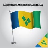 Εθνική σημαία σημαιών του ΆΓΙΟΥ ΒΙΚΕΝΤΊΟΥ ΚΑΙ ΓΡΕΝΑΔΊΝΕΣ του ΆΓΙΟΥ ΒΙΚΕΝΤΊΟΥ ΚΑΙ ΓΡΕΝΑΔΊΝΕΣ σε έναν πόλο διανυσματική απεικόνιση