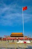 Εθνική σημαία στο πλατεία Tiananmen Στοκ Φωτογραφία