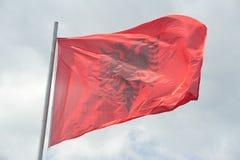 Εθνική σημαία της Αλβανίας Στοκ Φωτογραφία