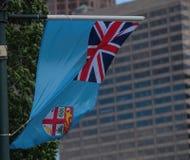 Εθνική σημαία της Δημοκρατίας των Φίτζι στο Νότιο Ειρηνικό Στοκ Φωτογραφία