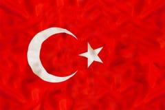 Εθνική σημαία της Τουρκίας με το κυματίζοντας ύφασμα Στοκ Φωτογραφίες