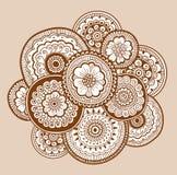 Εθνική henna διακόσμηση mehndi ινδικό ύφος Όμορφο floral υπόβαθρο τέχνης doodle Henna zentangle διακόσμηση Στοκ Εικόνα