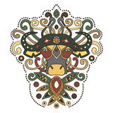Εθνικοί αφρικανικοί βούβαλοι στο γραφικό ύφος επίσης corel σύρετε το διάνυσμα απεικόνισης Στοκ εικόνα με δικαίωμα ελεύθερης χρήσης