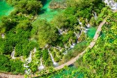 Εθνικοί καταρράκτες πάρκων λιμνών Plitvice airview και τρόποι, Croati Στοκ Φωτογραφία