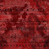 εθνικός άνευ ραφής ανασκόπησης Κόκκινη σύσταση watercolor Μαύρο geomet διανυσματική απεικόνιση