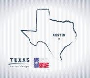Εθνικός διανυσματικός χάρτης σχεδίων του Τέξας στο άσπρο υπόβαθρο διανυσματική απεικόνιση