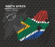 Εθνικός διανυσματικός χάρτης της Νότιας Αφρικής με τη σημαία κιμωλίας σκίτσων Συρμένη χέρι απεικόνιση κιμωλίας σκίτσων διανυσματική απεικόνιση