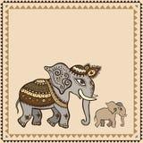 Εθνικός ελέφαντας.  Ινδικό ύφος. διανυσματική απεικόνιση