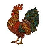 Εθνικός διακοσμημένος κόκκορας, κόκκορας Κινεζικό σύμβολο έτους Στοιχείο σχεδίου καρτών διακοπών επίσης corel σύρετε το διάνυσμα  ελεύθερη απεικόνιση δικαιώματος