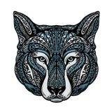 Εθνικός διακοσμημένος σκυλί ή λύκος επίσης corel σύρετε το διάνυσμα απεικόνισης ελεύθερη απεικόνιση δικαιώματος