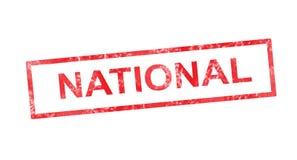 Εθνικός στο κόκκινο ορθογώνιο γραμματόσημο απεικόνιση αποθεμάτων