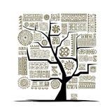 Εθνικό δέντρο με τη χειροποίητη διακόσμηση για το σχέδιό σας Στοκ Φωτογραφία