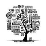 Εθνικό δέντρο με τη χειροποίητη διακόσμηση για το σχέδιό σας Στοκ Εικόνες