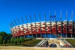 Εθνικό γήπεδο ποδοσφαίρου της Πολωνίας στη Βαρσοβία Ηλιόλουστη θερινή ημέρα με έναν μπλε ουρανό και πράσινα δέντρα Στοκ φωτογραφία με δικαίωμα ελεύθερης χρήσης