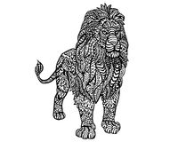 Εθνικό ζωικό σχέδιο λεπτομέρειας Doodle - απεικόνιση Zentangle λιονταριών Στοκ εικόνες με δικαίωμα ελεύθερης χρήσης