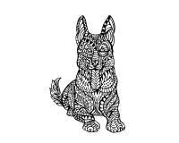 Εθνικό ζωικό σχέδιο λεπτομέρειας Doodle - γερμανική απεικόνιση Zentangle σκυλιών Sheppard Στοκ Φωτογραφία
