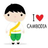 Εθνικό διάνυσμα κινούμενων σχεδίων φορεμάτων ατόμων της Καμπότζης διανυσματική απεικόνιση