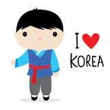 Εθνικό διάνυσμα κινούμενων σχεδίων φορεμάτων ατόμων της Κορέας Στοκ φωτογραφίες με δικαίωμα ελεύθερης χρήσης
