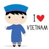Εθνικό διάνυσμα κινούμενων σχεδίων φορεμάτων ατόμων του Βιετνάμ διανυσματική απεικόνιση