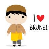 Εθνικό διάνυσμα κινούμενων σχεδίων φορεμάτων ατόμων του Μπρουνέι ελεύθερη απεικόνιση δικαιώματος