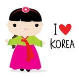 Εθνικό διάνυσμα κινούμενων σχεδίων φορεμάτων γυναικών της Κορέας Στοκ Φωτογραφίες