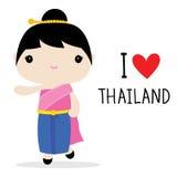 Εθνικό διάνυσμα κινούμενων σχεδίων φορεμάτων γυναικών της Ταϊλάνδης Στοκ Φωτογραφία