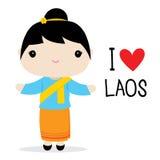 Εθνικό διάνυσμα κινούμενων σχεδίων φορεμάτων γυναικών του Λάος διανυσματική απεικόνιση