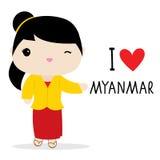 Εθνικό διάνυσμα κινούμενων σχεδίων φορεμάτων γυναικών του Μιανμάρ απεικόνιση αποθεμάτων
