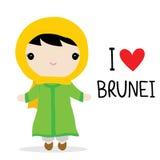 Εθνικό διάνυσμα κινούμενων σχεδίων φορεμάτων γυναικών του Μπρουνέι διανυσματική απεικόνιση