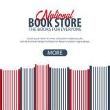 Εθνικό κατάστημα βιβλίων εμβλημάτων απομονωμένη βιβλία στοίβα σειράς επίσης corel σύρετε το διάνυσμα απεικόνισης Στοκ φωτογραφία με δικαίωμα ελεύθερης χρήσης