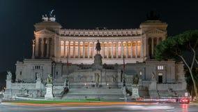 Εθνικό μνημείο του Victor Emmanuel ΙΙ τη νύχτα και της οδικής κυκλοφορίας timelapse, Ρώμη φιλμ μικρού μήκους