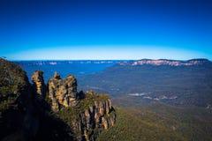 Εθνικό πάρκο Αυστραλία τριών αδελφών βουνών ορόσημων μπλε Στοκ Εικόνα