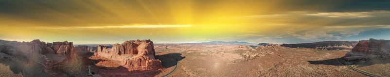 εθνικό πάρκο Utah αψίδων Πανοραμική εναέρια άποψη στο ηλιοβασίλεμα Στοκ Εικόνες