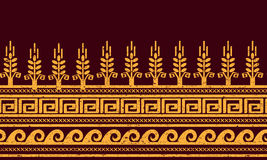εθνικό πρότυπο άνευ ραφής Σίτος, μαίανδρος, και σύμβολα νερού Στοκ Εικόνα