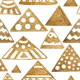εθνικό πρότυπο Χρυσό γεωμετρικό συρμένο χέρι υπόβαθρο Άνευ ραφής φυλετική άσπρη σύσταση Στοκ Φωτογραφίες