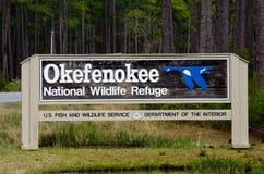 Εθνικό σημάδι καταφυγίων άγριας πανίδας ελών Okefenokee Στοκ Εικόνα