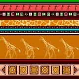 Εθνικό σχέδιο με giraffes Στοκ Εικόνα