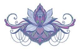 Εθνικό σύμβολο λουλουδιών Lotus Μοτίβο σχεδίου δερματοστιξιών, στοιχείο διακοσμήσεων Πνευματικότητα, νιρβάνα και αθωότητα σημαδιώ ελεύθερη απεικόνιση δικαιώματος