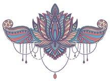 Εθνικό σύμβολο λουλουδιών Lotus Μοτίβο σχεδίου δερματοστιξιών, στοιχείο διακοσμήσεων Πνευματικότητα, νιρβάνα και αθωότητα σημαδιώ απεικόνιση αποθεμάτων
