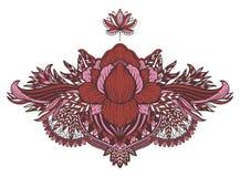 Εθνικό σύμβολο λουλουδιών Lotus Μοτίβο σχεδίου δερματοστιξιών, στοιχείο διακοσμήσεων Πνευματικότητα, νιρβάνα και αθωότητα σημαδιώ στοκ φωτογραφία με δικαίωμα ελεύθερης χρήσης
