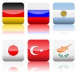 εθνικό τετράγωνο συνόλου εικονιδίων σημαιών Στοκ Εικόνα