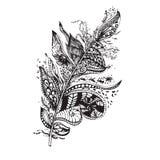 Εθνικό φτερό σε ένα άσπρο υπόβαθρο Τρύγος καλλιτεχνικά ελεύθερη απεικόνιση δικαιώματος