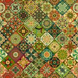 Εθνικό floral άνευ ραφής σχέδιο mandala ζωηρόχρωμο μωσαϊκό ανασκόπησης Στοκ Φωτογραφίες