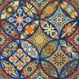 Εθνικό floral άνευ ραφής σχέδιο mandala ζωηρόχρωμο μωσαϊκό ανασκόπησης Στοκ Εικόνες