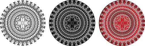 Εθνικό mandala με το γεωμετρικό ήλιο sumbol για το χρωματισμό του βιβλίου Στρογγυλό σχέδιο με το παχύ περίγραμμα Στοκ εικόνα με δικαίωμα ελεύθερης χρήσης