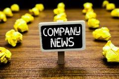 Ειδήσεις γραφής text Company Έννοια που σημαίνει τις πιό πρόσφατες πληροφορίες και που συμβαίνει έναν πίνακα επιχειρησιακών εταιρ στοκ φωτογραφία με δικαίωμα ελεύθερης χρήσης