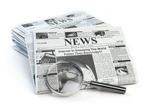 Ειδήσεις Loupe τις περιοδικές εφημερίδες ειδήσεων ho που απομονώνονται με στο λευκό Στοκ εικόνες με δικαίωμα ελεύθερης χρήσης
